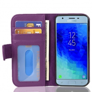 Cadorabo Hülle für Samsung Galaxy J3 2017 in BORDEAUX LILA - Handyhülle mit Magnetverschluss und 3 Kartenfächern - Case Cover Schutzhülle Etui Tasche Book Klapp Style