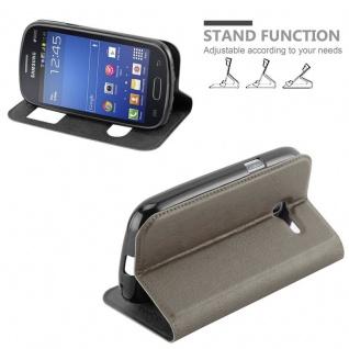 Cadorabo Hülle für Samsung Galaxy TREND LITE in STEIN BRAUN ? Handyhülle mit Magnetverschluss, Standfunktion und 2 Sichtfenstern ? Case Cover Schutzhülle Etui Tasche Book Klapp Style - Vorschau 4