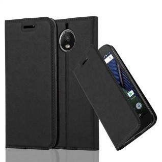 Cadorabo Hülle für Motorola MOTO G5S PLUS in NACHT SCHWARZ - Handyhülle mit Magnetverschluss, Standfunktion und Kartenfach - Case Cover Schutzhülle Etui Tasche Book Klapp Style