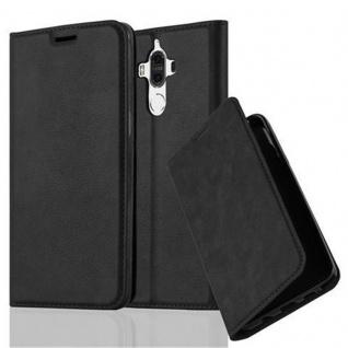 Cadorabo Hülle für Huawei MATE 9 in NACHT SCHWARZ Handyhülle mit Magnetverschluss, Standfunktion und Kartenfach Case Cover Schutzhülle Etui Tasche Book Klapp Style