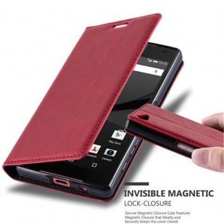 Cadorabo Hülle für Sony Xperia Z5 COMPACT in APFEL ROT - Handyhülle mit Magnetverschluss, Standfunktion und Kartenfach - Case Cover Schutzhülle Etui Tasche Book Klapp Style
