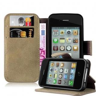 Cadorabo Hülle für Apple iPhone 4 / iPhone 4S - Hülle in MATT SAND BRAUN - Handyhülle mit Standfunktion und Kartenfach im Retro Design - Case Cover Schutzhülle Etui Tasche Book Klapp Style
