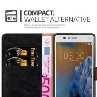 Cadorabo Hülle für Nokia 3 2017 in GRAPHIT SCHWARZ ? Handyhülle mit Magnetverschluss, Standfunktion und Kartenfach ? Case Cover Schutzhülle Etui Tasche Book Klapp Style - Vorschau 3