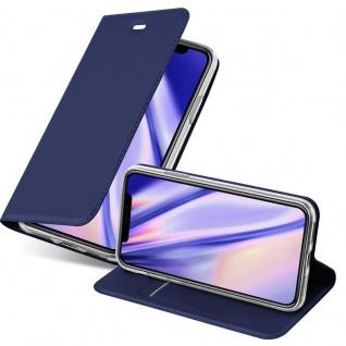 Cadorabo Hülle für Apple iPhone XS MAX in CLASSY DUNKEL BLAU - Handyhülle mit Magnetverschluss, Standfunktion und Kartenfach - Case Cover Schutzhülle Etui Tasche Book Klapp Style