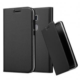 Cadorabo Hülle für Huawei G7 PLUS / G8 / GX8 in CLASSY SCHWARZ - Handyhülle mit Magnetverschluss, Standfunktion und Kartenfach - Case Cover Schutzhülle Etui Tasche Book Klapp Style