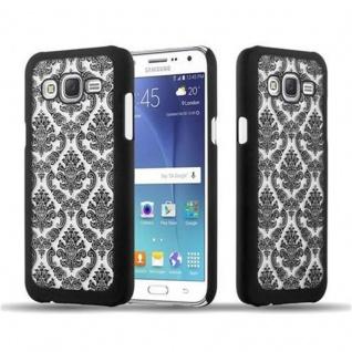 Samsung Galaxy J7 2015 Hardcase Hülle in SCHWARZ von Cadorabo - Blumen Paisley Henna Design Schutzhülle ? Handyhülle Bumper Back Case Cover