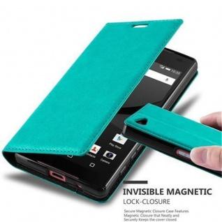 Cadorabo Hülle für Sony Xperia Z5 COMPACT in PETROL TÜRKIS Handyhülle mit Magnetverschluss, Standfunktion und Kartenfach Case Cover Schutzhülle Etui Tasche Book Klapp Style
