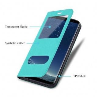 Cadorabo Hülle für Samsung Galaxy S8 in MINT TÜRKIS - Handyhülle mit Magnetverschluss, Standfunktion und 2 Sichtfenstern - Case Cover Schutzhülle Etui Tasche Book Klapp Style - Vorschau 3