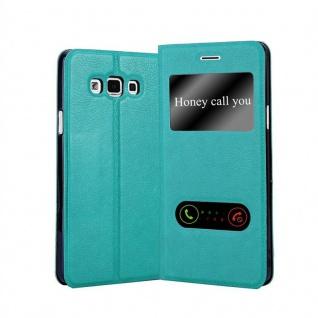 Cadorabo Hülle für Samsung Galaxy A7 2015 in MINT TÜRKIS - Handyhülle mit Magnetverschluss, Standfunktion und 2 Sichtfenstern - Case Cover Schutzhülle Etui Tasche Book Klapp Style