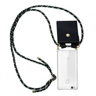 Cadorabo Handy Kette für Huawei P9 LITE in CAMOUFLAGE Silikon Necklace Umhänge Hülle mit Gold Ringen, Kordel Band Schnur und abnehmbarem Etui Schutzhülle