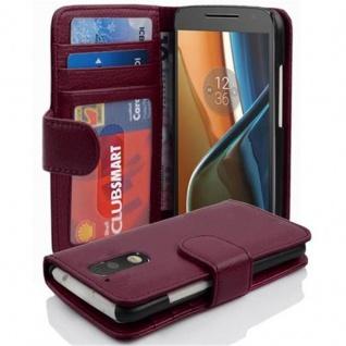 Cadorabo Hülle für Motorola MOTO G4 / G4 PLUS in BORDEAUX LILA ? Handyhülle mit Magnetverschluss und 3 Kartenfächern ? Case Cover Schutzhülle Etui Tasche Book Klapp Style