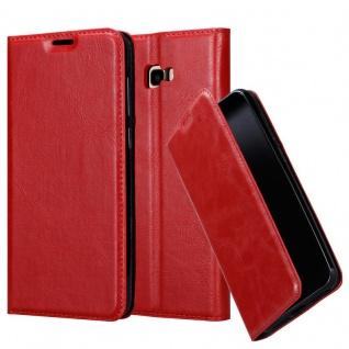 Cadorabo Hülle für Samsung Galaxy J4 PLUS in APFEL ROT - Handyhülle mit Magnetverschluss, Standfunktion und Kartenfach - Case Cover Schutzhülle Etui Tasche Book Klapp Style