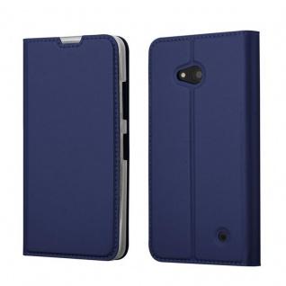 Cadorabo Hülle für Nokia Lumia 640 in CLASSY DUNKEL BLAU - Handyhülle mit Magnetverschluss, Standfunktion und Kartenfach - Case Cover Schutzhülle Etui Tasche Book Klapp Style