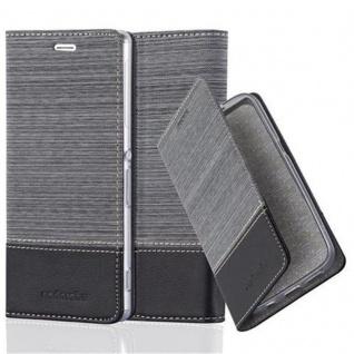 Cadorabo Hülle für Sony Xperia Z3 in GRAU SCHWARZ - Handyhülle mit Magnetverschluss, Standfunktion und Kartenfach - Case Cover Schutzhülle Etui Tasche Book Klapp Style