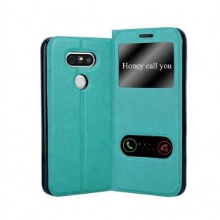 Cadorabo Hülle für LG G5 in MINT TÜRKIS Handyhülle mit Magnetverschluss, Standfunktion und 2 Sichtfenstern Case Cover Schutzhülle Etui Tasche Book Klapp Style