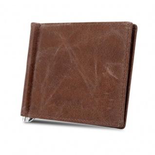 Cadorabo Leder Geldbeutel in KAFFEE ? Ultra dünnes Portemonnaie aus Leder mit 6 Kartenfächern und Geldklammer für Scheine ? Portmonee Geldbörse Etui Brieftasche Wallet Clip