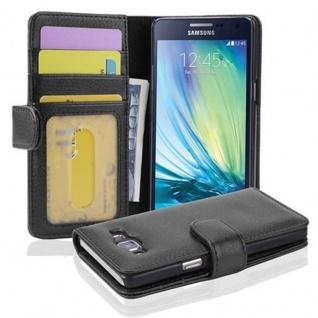 Cadorabo Hülle für Samsung Galaxy A5 2015 in OXID SCHWARZ - Handyhülle mit Magnetverschluss und 3 Kartenfächern - Case Cover Schutzhülle Etui Tasche Book Klapp Style