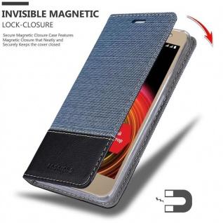 Cadorabo Hülle für LG X POWER 2 in DUNKEL BLAU SCHWARZ - Handyhülle mit Magnetverschluss, Standfunktion und Kartenfach - Case Cover Schutzhülle Etui Tasche Book Klapp Style - Vorschau 3