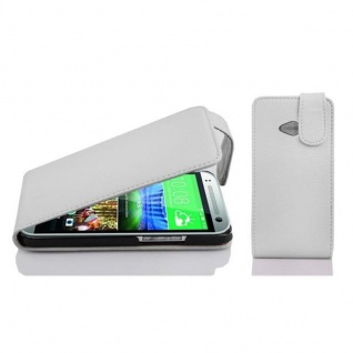 Cadorabo Hülle für HTC ONE M8 MINI (2.Gen.) - Hülle in MAGNESIUM WEIß ? Handyhülle aus strukturiertem Kunstleder im Flip Design - Case Cover Schutzhülle Etui Tasche