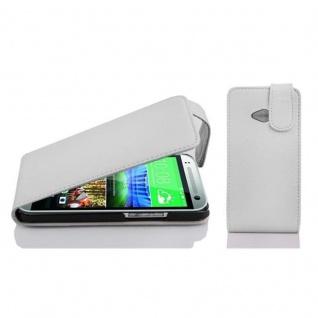 Cadorabo Hülle für HTC ONE M8 MINI in MAGNESIUM WEIß - Handyhülle im Flip Design aus strukturiertem Kunstleder - Case Cover Schutzhülle Etui Tasche Book Klapp Style