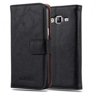 Cadorabo Hülle für Samsung Galaxy J5 2015 in GRAPHIT SCHWARZ - Handyhülle mit Magnetverschluss, Standfunktion und Kartenfach - Case Cover Schutzhülle Etui Tasche Book Klapp Style