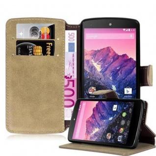 Cadorabo Hülle für LG NEXUS 5 - Hülle in MATT SAND BRAUN ? Handyhülle mit Standfunktion und Kartenfach im Retro Design - Case Cover Schutzhülle Etui Tasche Book Klapp Style