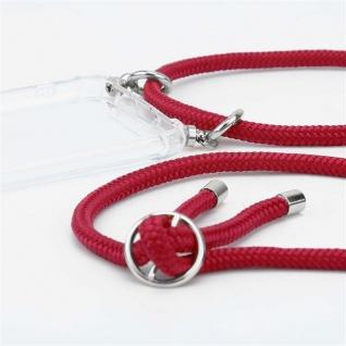 Cadorabo Handy Kette für Oppo A12 in RUBIN ROT Silikon Necklace Umhänge Hülle mit Silber Ringen, Kordel Band Schnur und abnehmbarem Etui Schutzhülle - Vorschau 3