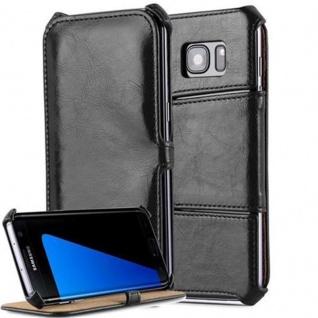 Cadorabo Hülle für Samsung Galaxy S7 EDGE - Hülle in PIANO SCHWARZ ? Handyhülle OHNE Magnetverschluss mit Standfunktion und Eckhalterung - Hard Case Book Etui Schutzhülle Tasche Cover