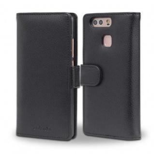 Cadorabo Hülle für Huawei P9 in OXID SCHWARZ ? Handyhülle mit Magnetverschluss und 3 Kartenfächern ? Case Cover Schutzhülle Etui Tasche Book Klapp Style