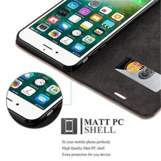 Cadorabo Hülle für Apple iPhone 8 PLUS / 7 PLUS / 7S PLUS in CAPPUCCINO BRAUN - Handyhülle mit Magnetverschluss, Standfunktion und Kartenfach - Case Cover Schutzhülle Etui Tasche Book Klapp Style - Vorschau 4