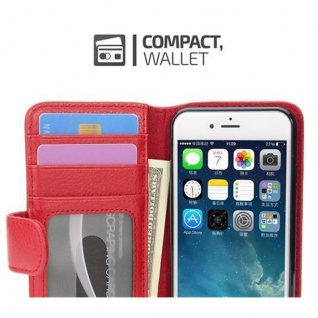 Cadorabo Hülle für Apple iPhone 7 / iPhone 7S / iPhone 8 in INFERNO ROT ? Handyhülle mit Magnetverschluss und 3 Kartenfächern ? Case Cover Schutzhülle Etui Tasche Book Klapp Style - Vorschau 2