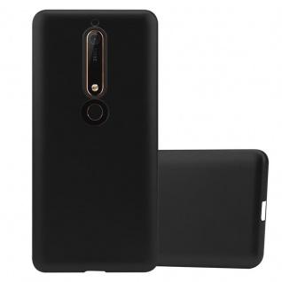 Cadorabo Hülle für Nokia 6.1 2018 in METALLIC SCHWARZ - Handyhülle aus flexiblem TPU Silikon - Silikonhülle Schutzhülle Ultra Slim Soft Back Cover Case Bumper