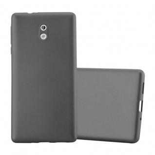 Cadorabo Hülle für Nokia 3 2017 in METALLIC GRAU - Handyhülle aus flexiblem TPU Silikon - Silikonhülle Schutzhülle Ultra Slim Soft Back Cover Case Bumper