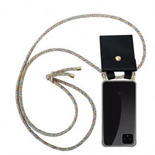 Cadorabo Handy Kette für Google Pixel 4 in RAINBOW - Silikon Necklace Umhänge Hülle mit Gold Ringen, Kordel Band Schnur und abnehmbarem Etui ? Schutzhülle