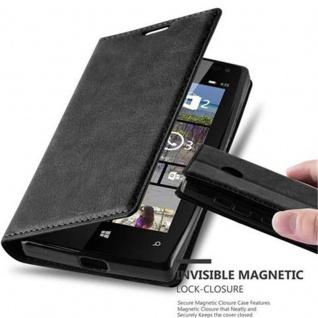 Cadorabo Hülle für Nokia Lumia 435 in NACHT SCHWARZ Handyhülle mit Magnetverschluss, Standfunktion und Kartenfach Case Cover Schutzhülle Etui Tasche Book Klapp Style
