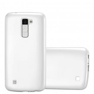Cadorabo Hülle für LG K10 2016 in METALLIC SILBER - Handyhülle aus flexiblem TPU Silikon - Silikonhülle Schutzhülle Ultra Slim Soft Back Cover Case Bumper