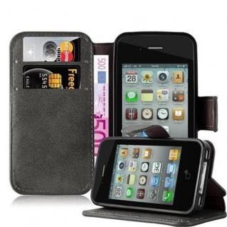 Cadorabo Hülle für Apple iPhone 4 / iPhone 4S - Hülle in MATT GRAU ? Handyhülle mit Standfunktion und Kartenfach im Retro Design - Case Cover Schutzhülle Etui Tasche Book Klapp Style