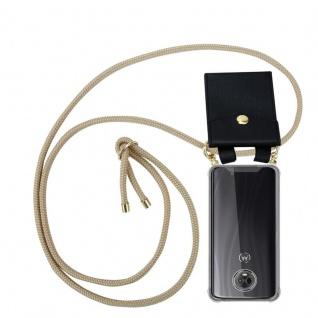 Cadorabo Handy Kette für Motorola MOTO G6 PLUS in GLÄNZEND BRAUN Silikon Necklace Umhänge Hülle mit Gold Ringen, Kordel Band Schnur und abnehmbarem Etui Schutzhülle