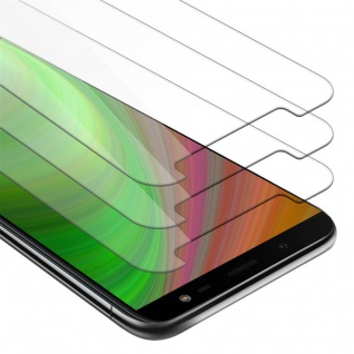 Cadorabo 3x Panzer Folie für Samsung Galaxy J6 2018 - Schutzfolie in KRISTALL KLAR - 3er Pack Gehärtetes (Tempered) Display-Schutzglas in 9H Härte mit 3D Touch Kompatibilität