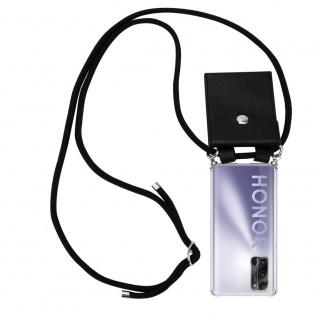Cadorabo Handy Kette für Honor 30 Pro+ in SCHWARZ Silikon Necklace Umhänge Hülle mit Silber Ringen, Kordel Band Schnur und abnehmbarem Etui Schutzhülle