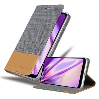 Cadorabo Hülle für Xiaomi RedMi 7 in HELL GRAU BRAUN Handyhülle mit Magnetverschluss, Standfunktion und Kartenfach Case Cover Schutzhülle Etui Tasche Book Klapp Style
