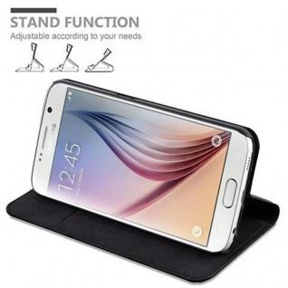 Cadorabo Hülle für Samsung Galaxy S6 in NACHT SCHWARZ - Handyhülle mit Magnetverschluss, Standfunktion und Kartenfach - Case Cover Schutzhülle Etui Tasche Book Klapp Style - Vorschau 4
