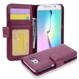 Cadorabo Hülle für Samsung Galaxy S6 in BORDEAUX LILA - Handyhülle mit Magnetverschluss und 3 Kartenfächern - Case Cover Schutzhülle Etui Tasche Book Klapp Style