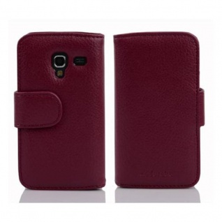 Cadorabo Hülle für Samsung Galaxy ACE 2 in BORDEAUX LILA - Handyhülle aus strukturiertem Kunstleder mit Standfunktion und Kartenfach - Case Cover Schutzhülle Etui Tasche Book Klapp Style - Vorschau 2