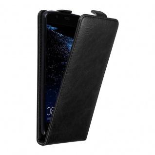 Cadorabo Hülle für Huawei P10 PLUS in NACHT SCHWARZ Handyhülle im Flip Design mit unsichtbarem Magnetverschluss Case Cover Schutzhülle Etui Tasche Book Klapp Style