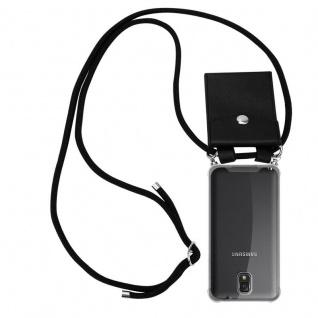 Cadorabo Handy Kette für Samsung Galaxy NOTE 3 in SCHWARZ - Silikon Necklace Umhänge Hülle mit Silber Ringen, Kordel Band Schnur und abnehmbarem Etui - Schutzhülle