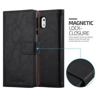 Cadorabo Hülle für Nokia 3 2017 in GRAPHIT SCHWARZ ? Handyhülle mit Magnetverschluss, Standfunktion und Kartenfach ? Case Cover Schutzhülle Etui Tasche Book Klapp Style - Vorschau 2