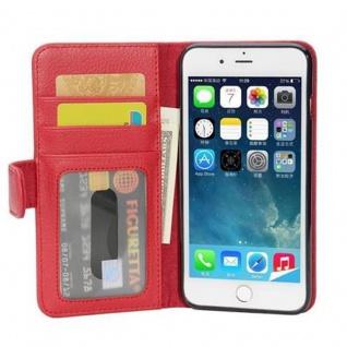 Cadorabo Hülle für Apple iPhone 8 PLUS / iPhone 7 PLUS / iPhone 7S PLUS in INFERNO ROT ? Handyhülle mit Magnetverschluss und 3 Kartenfächern ? Case Cover Schutzhülle Etui Tasche Book Klapp Style