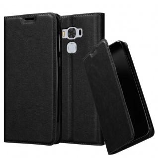 Cadorabo Hülle für Asus ZenFone 3 MAX (5, 5 Zoll) in NACHT SCHWARZ - Handyhülle mit Magnetverschluss, Standfunktion und Kartenfach - Case Cover Schutzhülle Etui Tasche Book Klapp Style