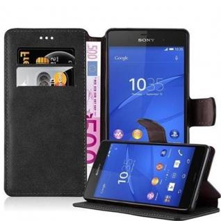 Cadorabo Hülle für Sony Xperia Z3 - Hülle in MATT SCHWARZ - Handyhülle mit Standfunktion und Kartenfach im Retro Design - Case Cover Schutzhülle Etui Tasche Book Klapp Style